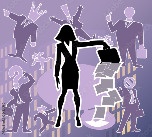 Cartoon set of funny and awesome team of amazing business characters in silhouette