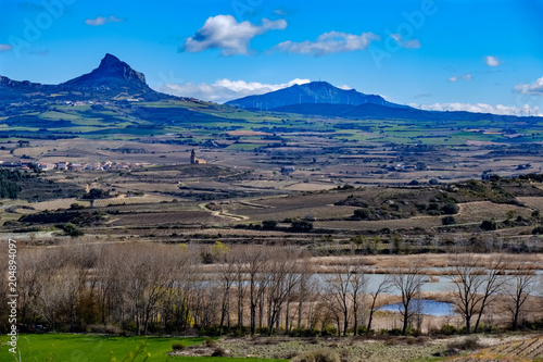 Panoramic view of the landscape of the region of La Rioja from the town called Laguardia with the vineyards without leaves in a very flat landscape with mountains in the background.