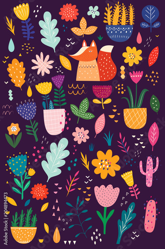 Fototapeta Decorative set with fox and flowers