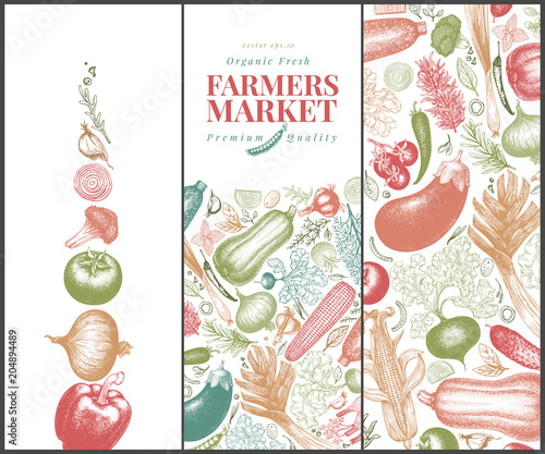 Vegetables hand drawn vector banner set. Retro engraved style illustrations. Can be use for menu, label, packaging, flyer, farm market products.