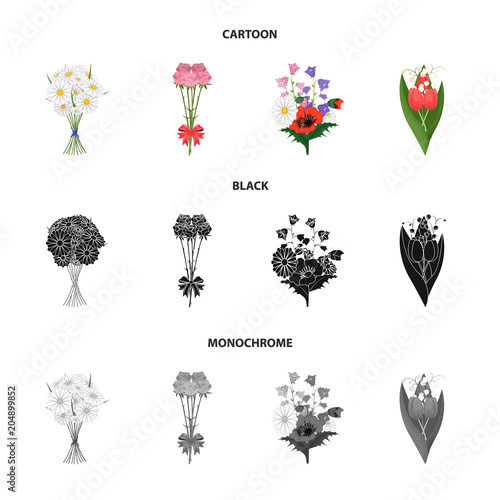 A bouquet of fresh flowers cartoon,black,monochrome icons in set collection for design. Various bouquets vector symbol stock web illustration.