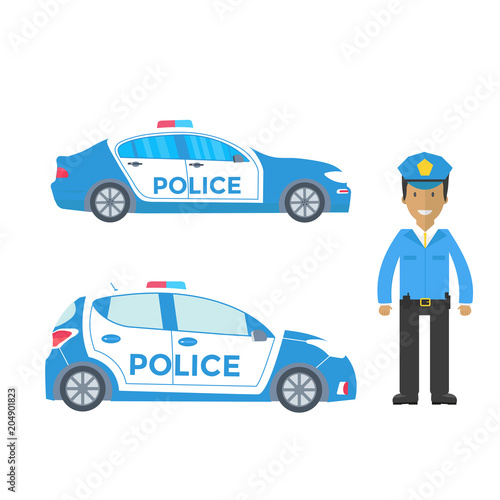 Fotobehang Auto Police patrol on a road with police car, officer