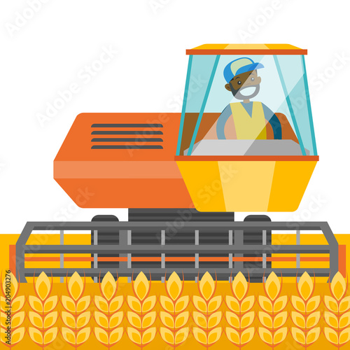 Aluminium Boerderij A black farmer harvests wheat on a field. A man farming with a harvester. Agriculture concept. Vector cartoon illustration isolated on white background.