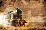 old steam train, vintage grunge background - 204906880