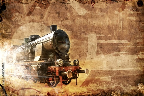 old steam train, vintage grunge background
