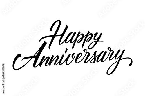 happy anniversary calligraphic lettering design celebrate card