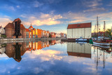 Beautiful old town of Gdansk reflected in Motlawa river at sunrise, Poland. - 204917869
