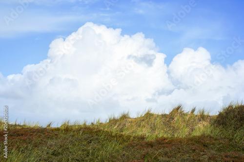 Plexiglas Noordzee Clouds and dune panorama on the island