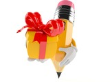 Pencil character holding gift