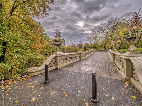 Fridge magnet Bow bridge Central Park autumn after rain