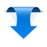 Blue 3d down sticker arrow with transparent shadow - 204933808