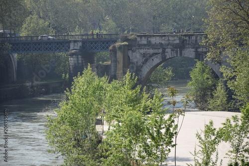 Aluminium Khaki vue sur le Tibre à rome
