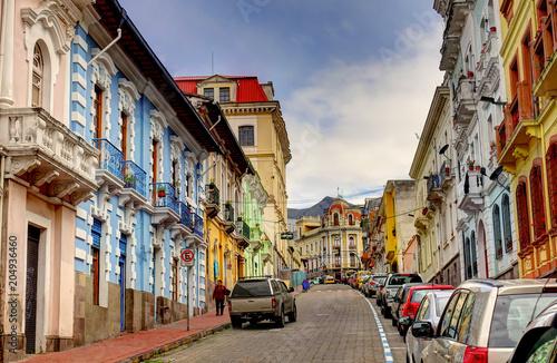 Fotobehang Smalle straatjes Quito, Ecuador