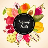 Vector card with tropical fruits