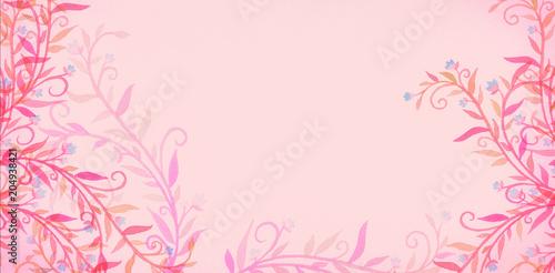 Różowe tło z drobnymi kwiatami i winorośli w romantyczny Walentynki lub cute dzień matki projekt lub piękne baby girl prysznic kolory. Ręcznie malowane projekt kwiat akwarela.