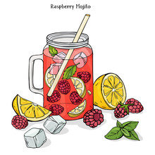 Colorful  Illustration In Sketch Style Cool Raspberry Drink In A Glass Cup  Ice Mint And Lem  Sticker