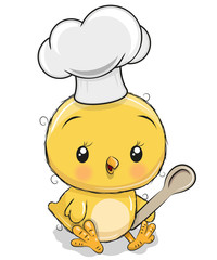 Caroon Chicken in a cook hat with spoon