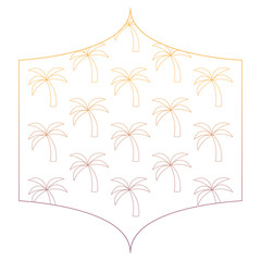 decorative frame with tropical palms pattern over white background, vector illustration