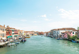 Panorama of Murano Island,Italy,15 May 2018,panorama of the large canal of the island of Murano main water street of the island, wallpaper, texture,