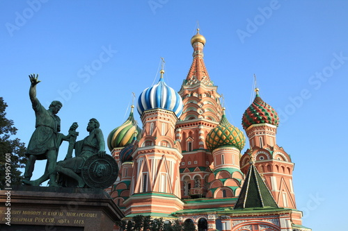 Plexiglas Moskou blessed basil cathedral and Statue of Minin and Pozharsky