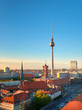 Aerial view of central Berlin on a bright day in Spring, iand television tower on Alexanderplatz