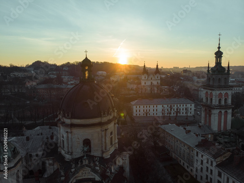 Poster beauty panoramic view on sunrise over old european city