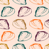 Hand drawn sketched sea shells in a horizontal rows seamless pattern on pastel pink background. Vector illustration.