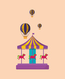 carousel and hot air balloon icon over orange background, colorful design. vector illustration