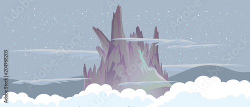 Fotobehang Donkergrijs Mountains in the night sky near the clouds vector flat illustration landscape.