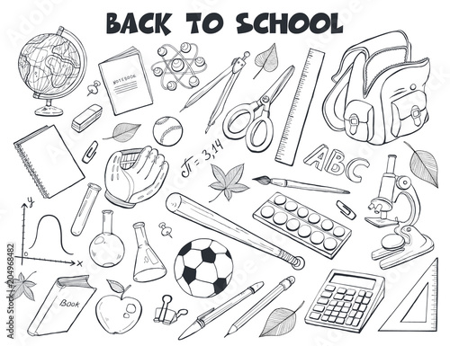 Fototapeta Hand drawn school objects collection. Vector illustration of education design elements isolated on white background. Back to school