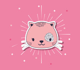 cute cat over pink background, colorful design. vector illustration