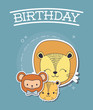 Happy birthday design with cute animals over blue background, colorful design. vector illustration