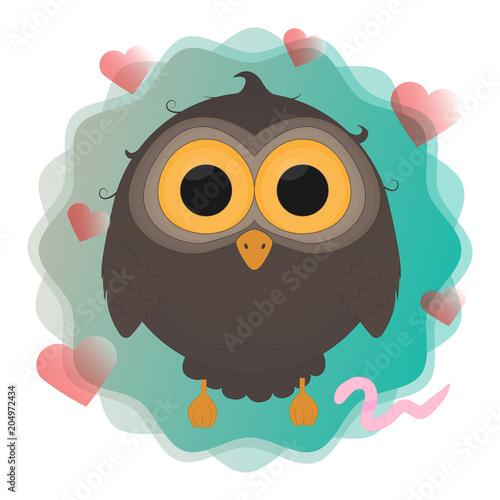 Fotobehang Uilen cartoon cartoon owl with worm vector illustration eps10