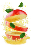 Flying apple with splashes of apple juice and mint