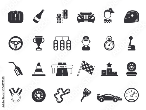 Fotobehang F1 Monochrome pictures set of sport symbols for formula 1 and racing cars
