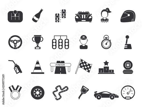 Plexiglas F1 Monochrome pictures set of sport symbols for formula 1 and racing cars