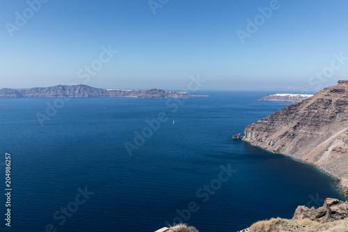 Canvas Santorini view of Santorini caldera in Greece from the coast