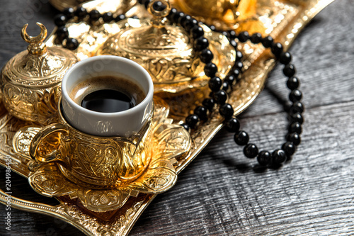 Poster Black arabic coffee golden decorations rosary Ramadan kareem