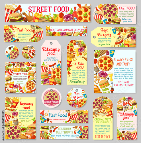 Fast food restaurant tag for takeaway menu design - 204996873