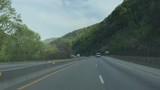 Driving on highway I40 in the Smoky Mountains - 204997070