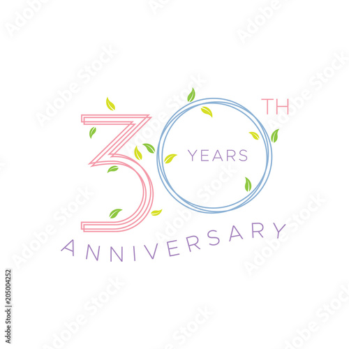 Poster 30th anniversary years round floral wreaths