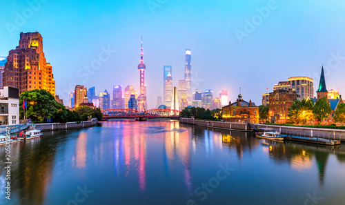 Plakat beautiful night in shanghai,view from suzhou river