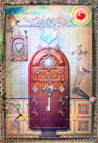 Fotobehang Imagination Entrance door for the world of fairy tales