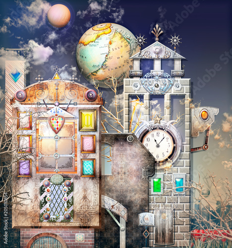 Canvas Imagination Surreal city with mysterious buildings