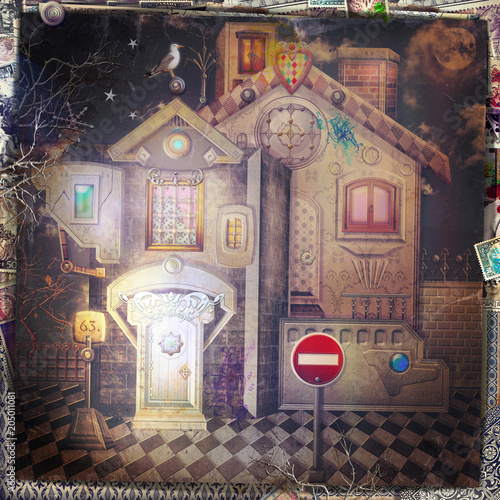 Canvas Imagination Bizarre and haunted house by night