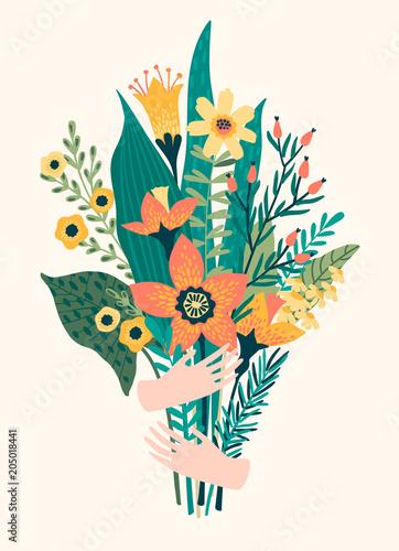 Ilustracji wektorowych bukiet kwiatów w ręce.