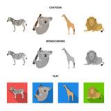 African zebra, animal koala, giraffe, wild predator, lion. Wild animals set collection icons in cartoon,flat,monochrome style vector symbol stock illustration web.