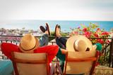 happy couple relax on balcony terrace - 205025872