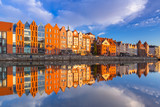 Beautiful old town of Gdansk reflected in Motlawa river at sunrise, Poland. - 205031292