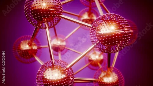 Poster loop atom model on colored background